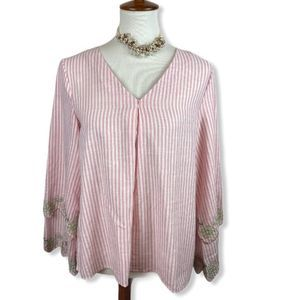 Loveriche striped blouse w/ layered embroidered